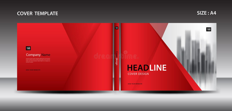Κόκκινο πρότυπο σχεδίου κάλυψης για το περιοδικό, αγγελίες, παρουσίαση, ετήσια έκθεση, βιβλίο, φυλλάδιο, αφίσα, κατάλογος, τυπώνο ελεύθερη απεικόνιση δικαιώματος