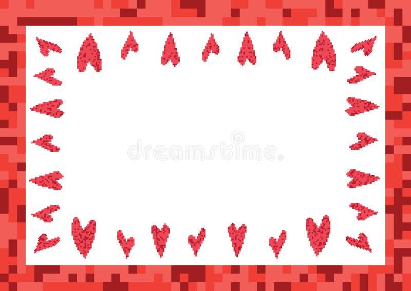 Κόκκινο πλαίσιο με το εικονοκύτταρο καρδιών διανυσματική απεικόνιση