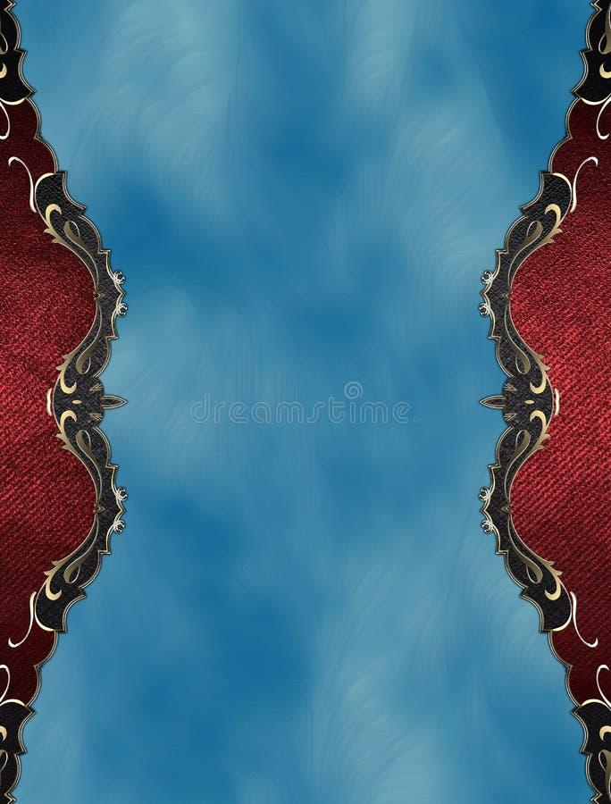 Κόκκινο πλαίσιο Grunge με τη χρυσή περιποίηση στο μπλε υπόβαθρο Πρότυπο για το σχέδιο διάστημα αντιγράφων για το φυλλάδιο αγγελιώ απεικόνιση αποθεμάτων