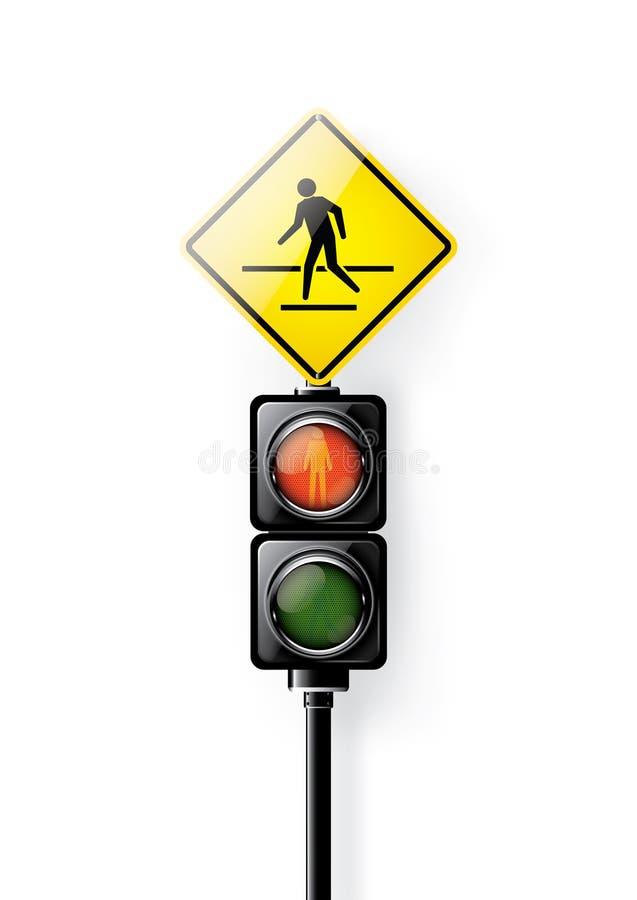 Κόκκινο σήμα, φωτεινοί σηματοδότες για τη διάβαση πεζών ανθρώπων που απομονώνονται στο άσπρο υπόβαθρο διανυσματική απεικόνιση