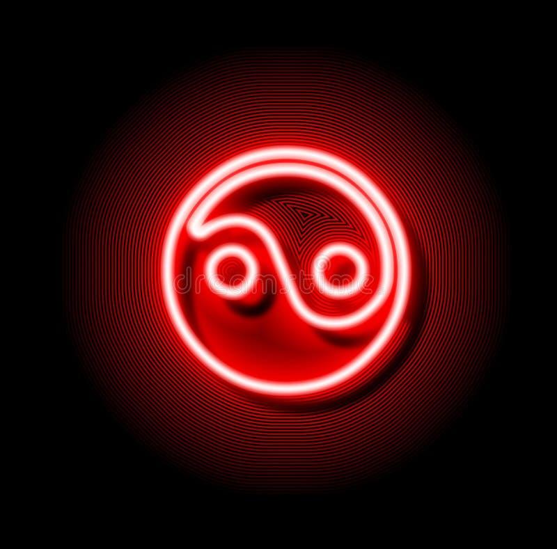 Κόκκινο σημάδι Ying νέου yang ελεύθερη απεικόνιση δικαιώματος