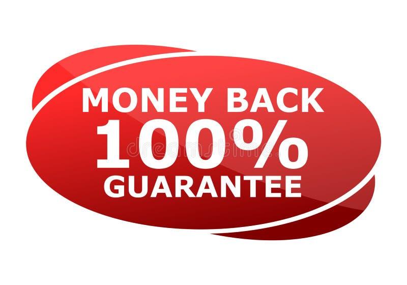 Κόκκινο σημάδι εγγύησης χρημάτων πίσω 100% διανυσματική απεικόνιση