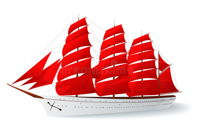 κόκκινο σκάφος πανιών καραβελών απεικόνιση αποθεμάτων