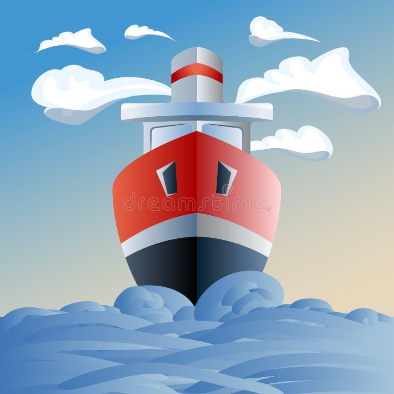 Κόκκινο σκάφος στη θάλασσα, τα σύννεφα και τα κύματα απεικόνιση αποθεμάτων