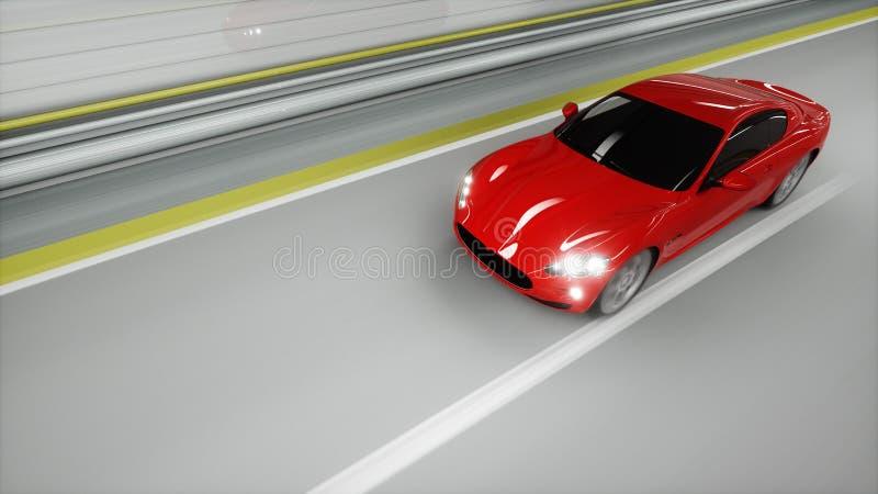 κόκκινο σπορ αυτοκίνητο σε μια σήραγγα να οδηγήσει γρήγορα Έννοια πετρελαίου τρισδιάστατη απόδοση απεικόνιση αποθεμάτων