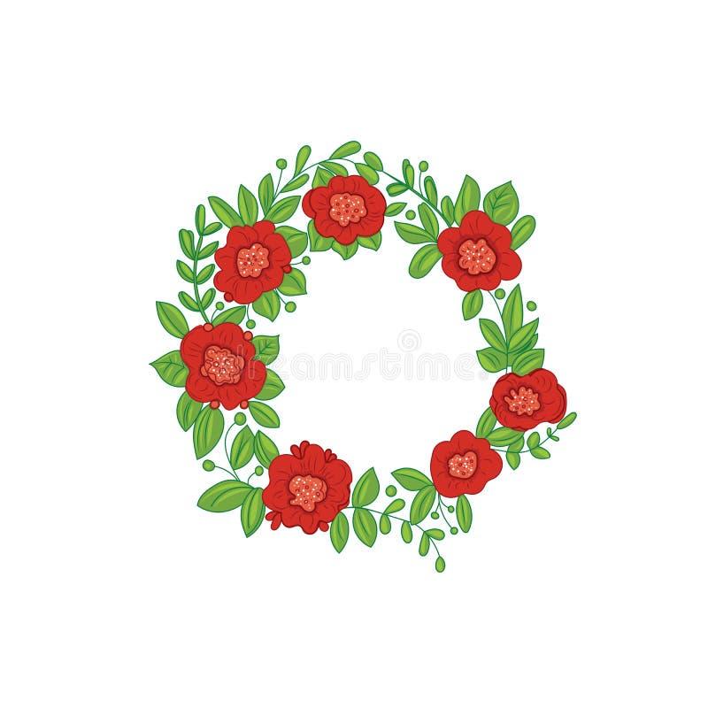 Κόκκινο στεφάνι λουλουδιών και πράσινο φύλλωμα ελεύθερη απεικόνιση δικαιώματος
