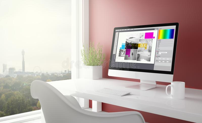 κόκκινο στούντιο με το γραφικό υπολογιστή σχεδίου στοκ φωτογραφία