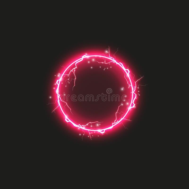 Κόκκινο στρογγυλό πλαίσιο Λάμποντας έμβλημα κύκλων Απομονωμένος στο μαύρο διαφανές υπόβαθρο επίσης corel σύρετε το διάνυσμα απεικ ελεύθερη απεικόνιση δικαιώματος