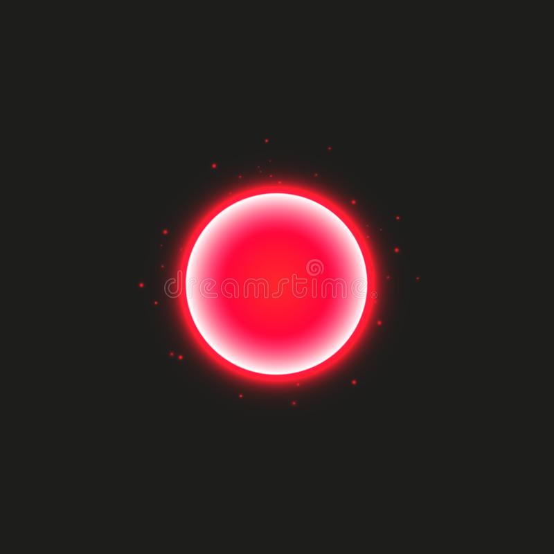 Κόκκινο στρογγυλό πλαίσιο Λάμποντας έμβλημα κύκλων Απομονωμένος στο μαύρο διαφανές υπόβαθρο επίσης corel σύρετε το διάνυσμα απεικ διανυσματική απεικόνιση