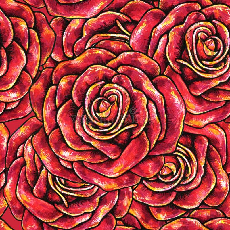 Κόκκινο συρμένο άνευ ραφής υπόβαθρο τριαντάφυλλων ελεύθερη απεικόνιση δικαιώματος