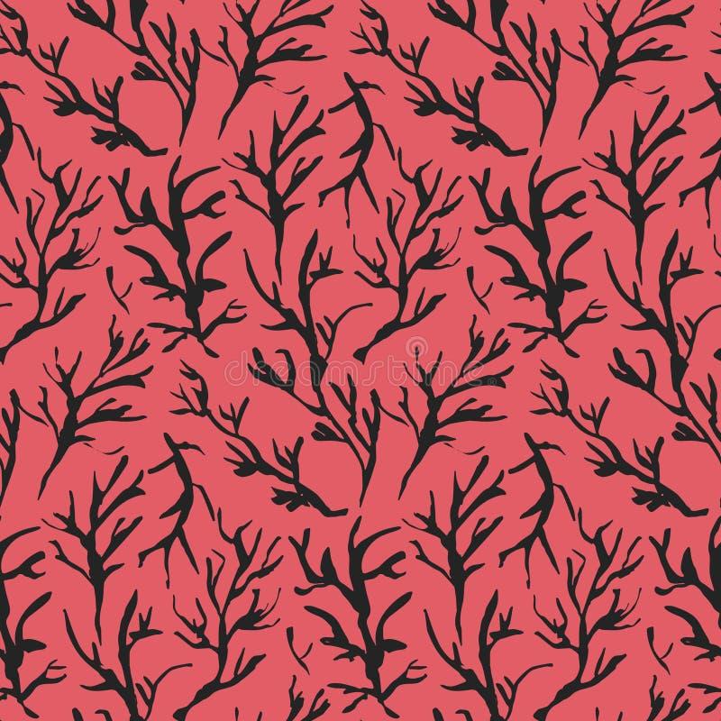 Κόκκινο συρμένο σχέδιο κλάδων μελανιού αντίθεσης διανυσματική απεικόνιση