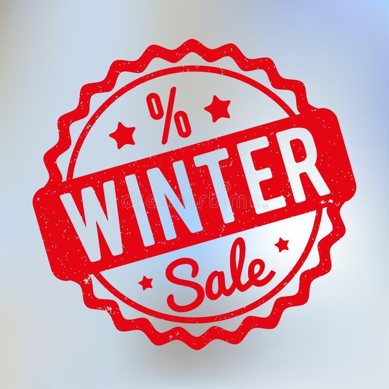 Κόκκινο σφραγιδών χειμερινής πώλησης σε ένα υπόβαθρο lila bokeh διανυσματική απεικόνιση