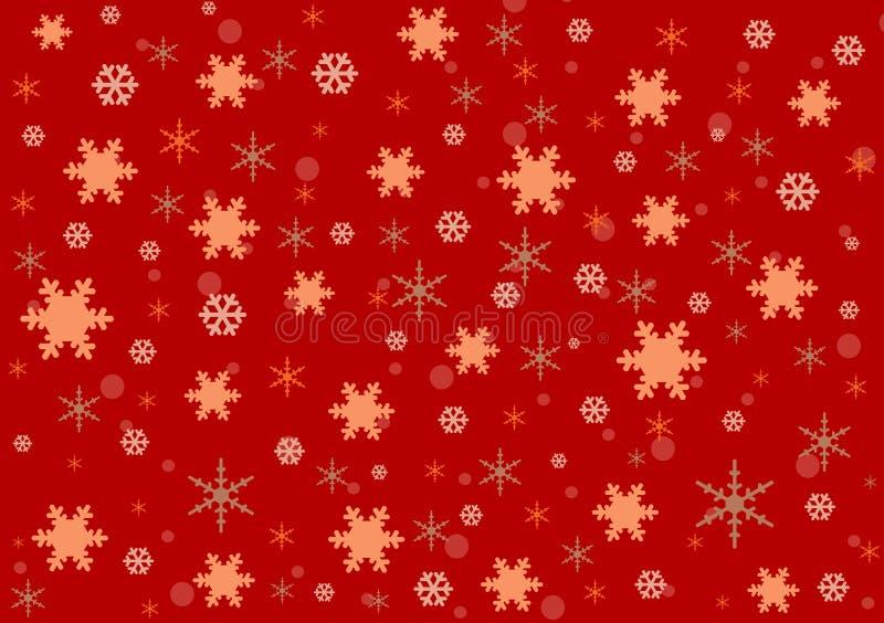 Κόκκινο σχέδιο ταπετσαριών Χριστουγέννων νιφάδων χιονιού ελεύθερη απεικόνιση δικαιώματος