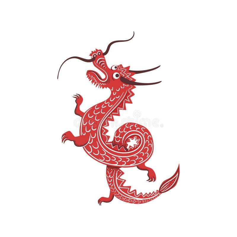 Κόκκινο σύμβολο πολιτισμού δράκων ιαπωνικό διανυσματική απεικόνιση