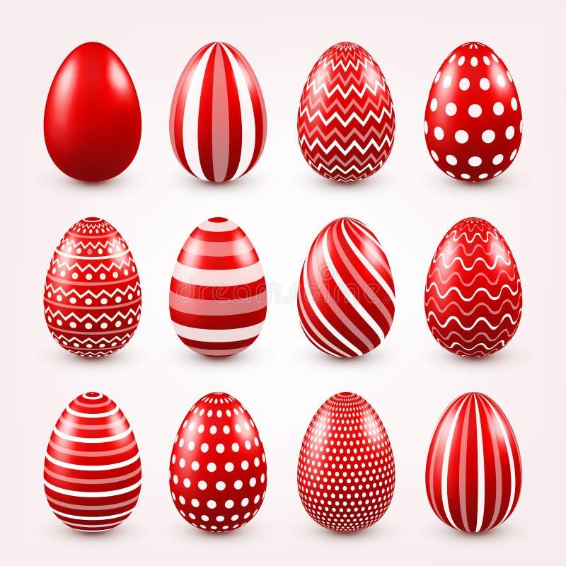Κόκκινο σύνολο αυγών Πάσχας E Εποχιακός εορτασμός Αυγό Κυνήγι sunday διανυσματική απεικόνιση