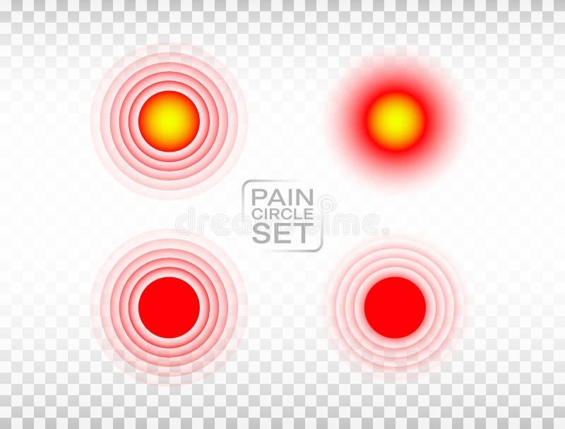 Κόκκινο σύνολο κύκλων πόνου Ιατρική συλλογή δαχτυλιδιών Βλαμμένος δείκτης Απεικόνιση θέσεων πόνου στο διαφανές υπόβαθρο Κόκκινος διανυσματική απεικόνιση