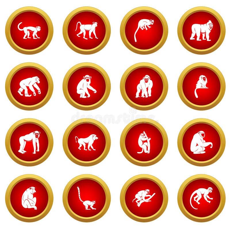 Κόκκινο σύνολο κύκλων εικονιδίων τύπων πιθήκων ελεύθερη απεικόνιση δικαιώματος