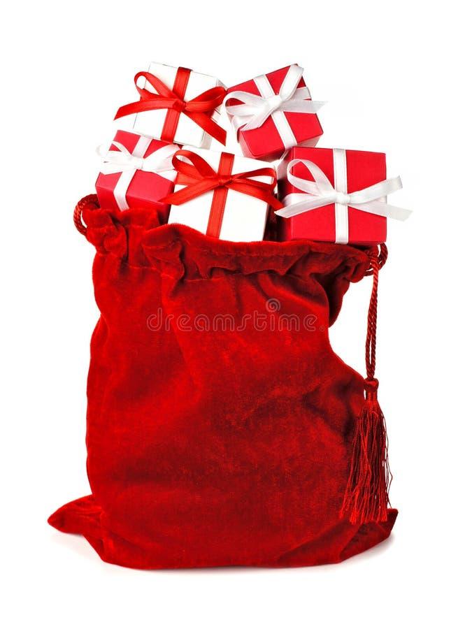 Κόκκινο σύνολο τσαντών των δώρων Χριστουγέννων στοκ εικόνα