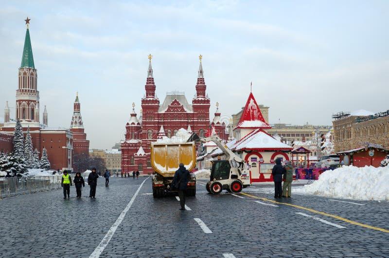 Κόκκινο τετράγωνο στο κέντρο της Μόσχας μετά από το χιόνι, Ρωσία στοκ φωτογραφία