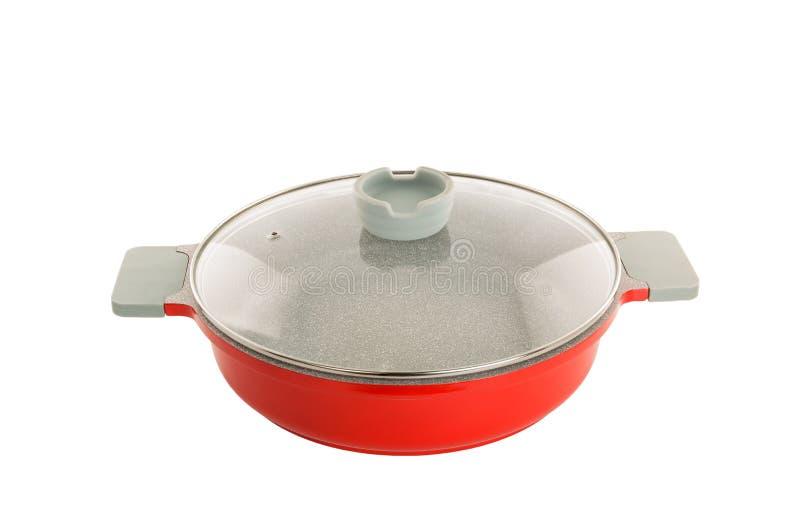 Κόκκινο τηγάνι κεραμικός-μετάλλων στοκ φωτογραφία με δικαίωμα ελεύθερης χρήσης