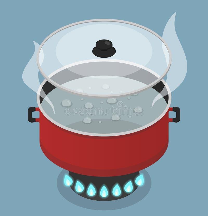 Κόκκινο τηγάνι με καπάκι και βραστό νερό στον καυστήρα αερίου ελεύθερη απεικόνιση δικαιώματος