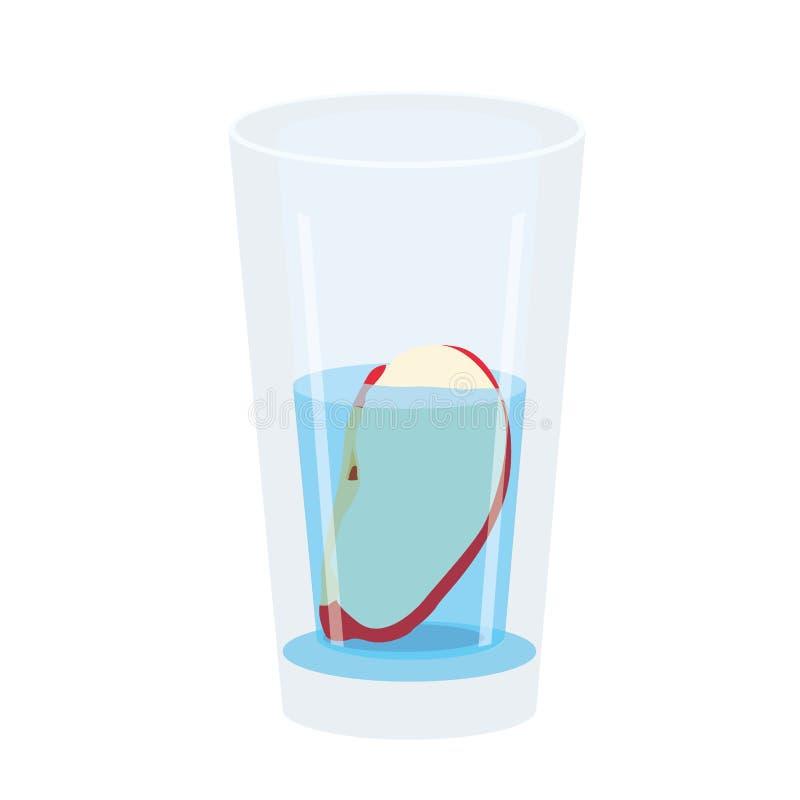 Κόκκινο της Apple στο γυαλί που απομονώνεται στο άσπρο υπόβαθρο διανυσματική απεικόνιση