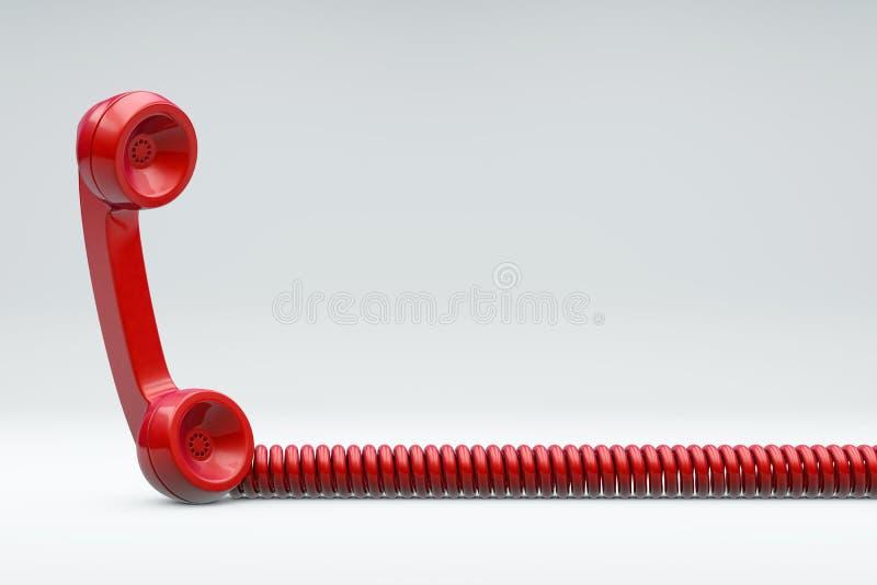 Κόκκινο τηλέφωνο με το σκοινί ελεύθερη απεικόνιση δικαιώματος