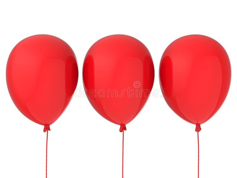 κόκκινο τρία μπαλονιών στοκ εικόνα