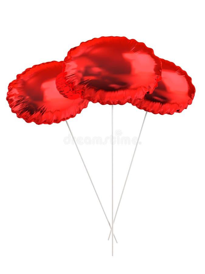 κόκκινο τρία μπαλονιών στοκ φωτογραφίες