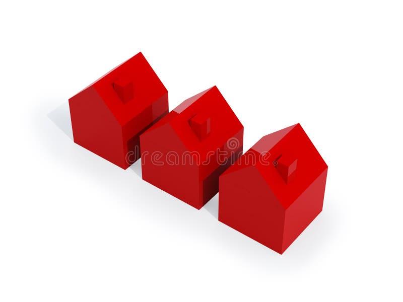 κόκκινο τρία σπιτιών διανυσματική απεικόνιση