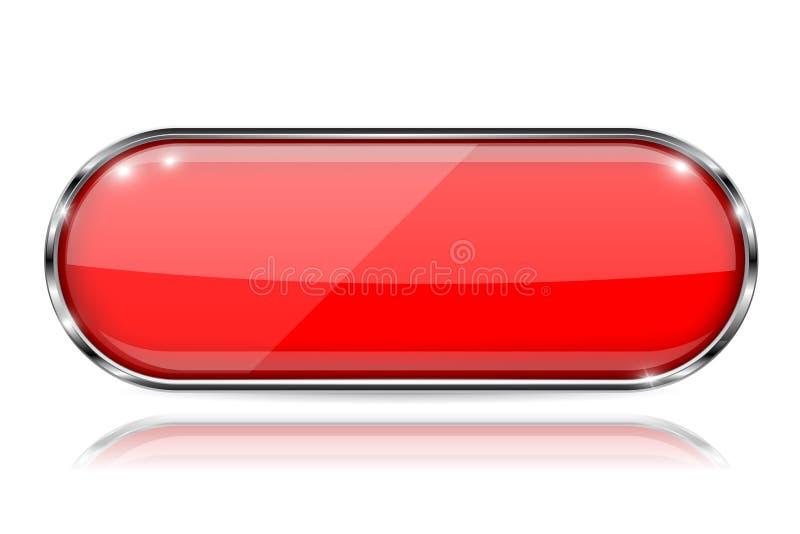 Κόκκινο τρισδιάστατο κουμπί γυαλιού με το πλαίσιο μετάλλων Ωοειδής μορφή Με την αντανάκλαση στο άσπρο υπόβαθρο ελεύθερη απεικόνιση δικαιώματος