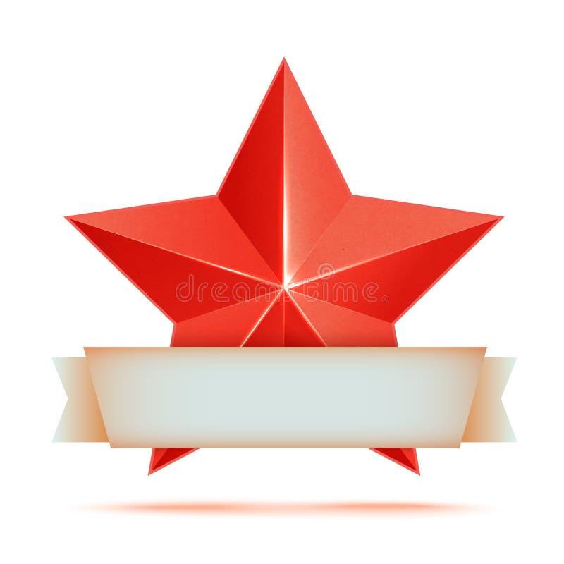 Κόκκινο τρισδιάστατο ασφάλιστρο αστεριών Η καλύτερη ανταμοιβή διανυσματική απεικόνιση