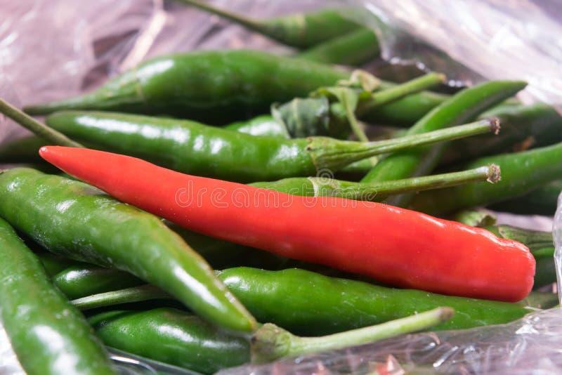 κόκκινο τσίλι στα πράσινα chilis στοκ φωτογραφία
