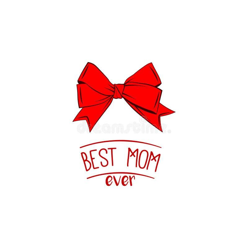 κόκκινο τόξων μητέρα s ημέρας καρτών Καλύτερη επιγραφή mom πάντα accidence διάνυσμα διανυσματική απεικόνιση