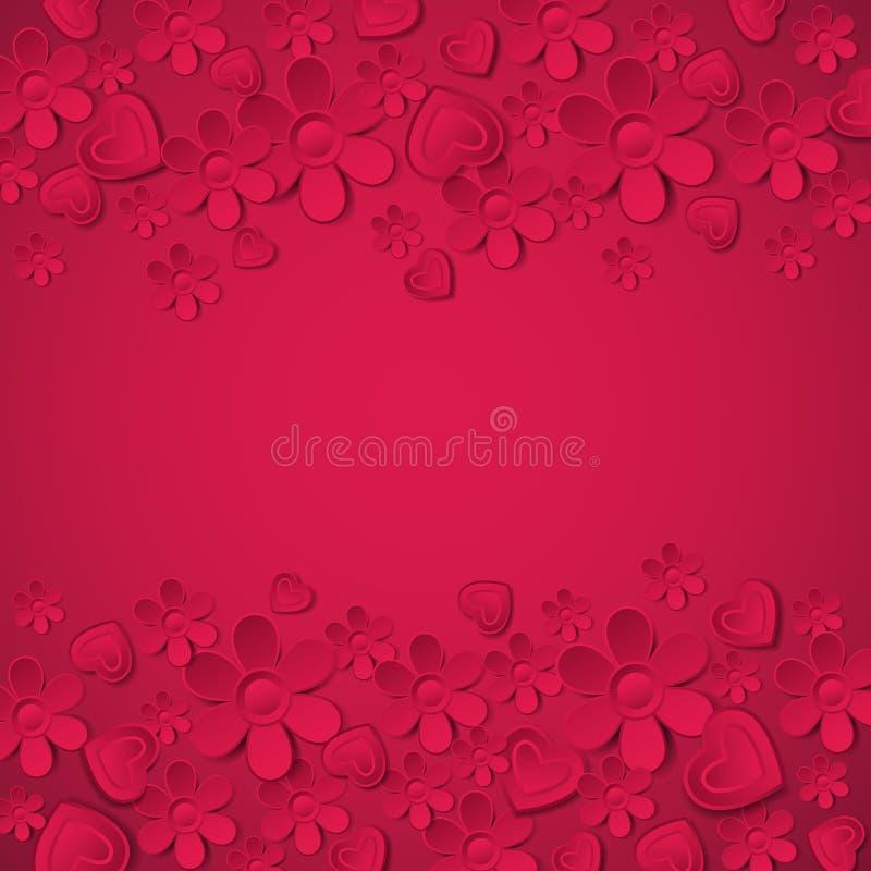 Κόκκινο υπόβαθρο βαλεντίνων με πολλά λουλούδια, vecto