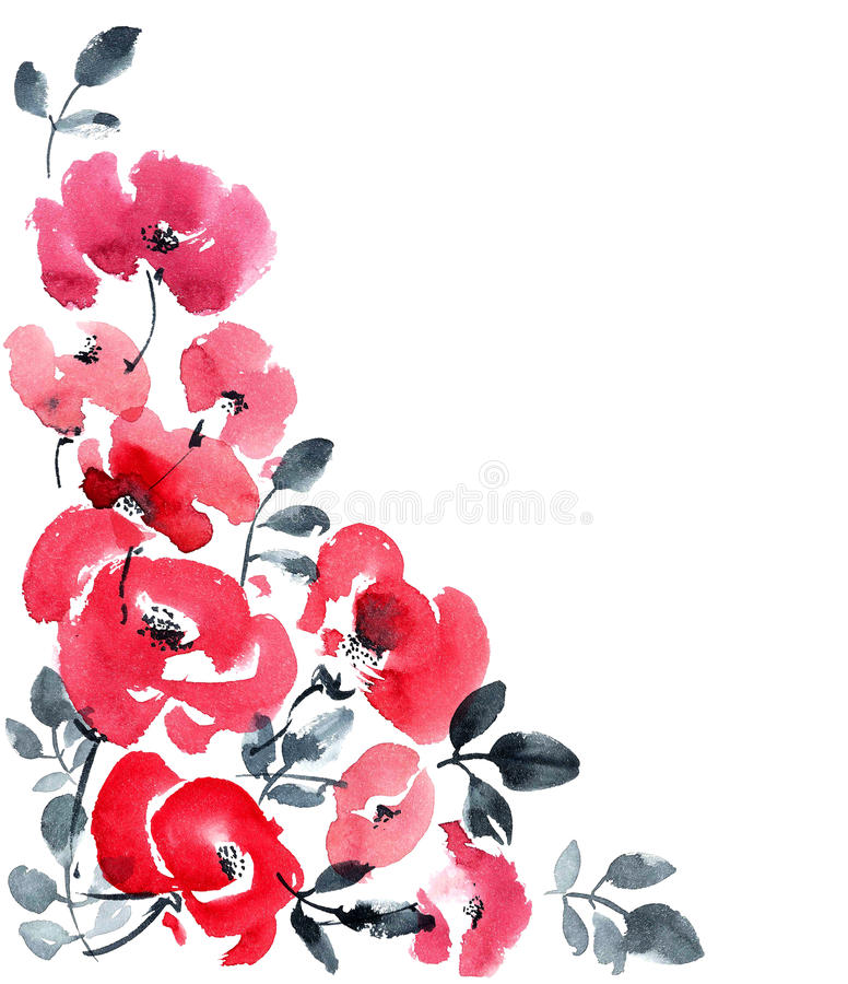 Κόκκινο υπόβαθρο ευχετήριων καρτών λουλουδιών απεικόνιση αποθεμάτων