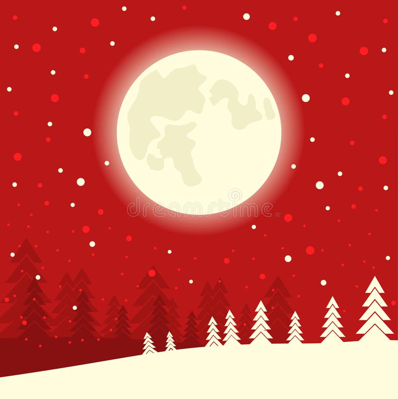 Κόκκινο υπόβαθρο καρτών Χριστουγέννων στη νύχτα χειμερινών φεγγαριών Διανυσματικό illus διανυσματική απεικόνιση