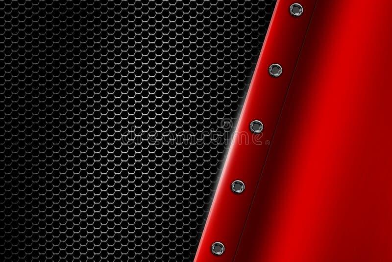 Κόκκινο υπόβαθρο μετάλλων με το καρφί στο γκρίζο μεταλλικό πλέγμα στοκ εικόνα με δικαίωμα ελεύθερης χρήσης
