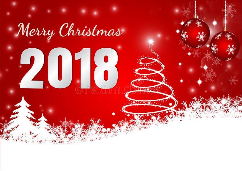Κόκκινο υπόβαθρο με τη νιφάδα χιονιού και σφαίρα για τη Χαρούμενα Χριστούγεννα 2018, διανυσματική απεικόνιση ελεύθερη απεικόνιση δικαιώματος