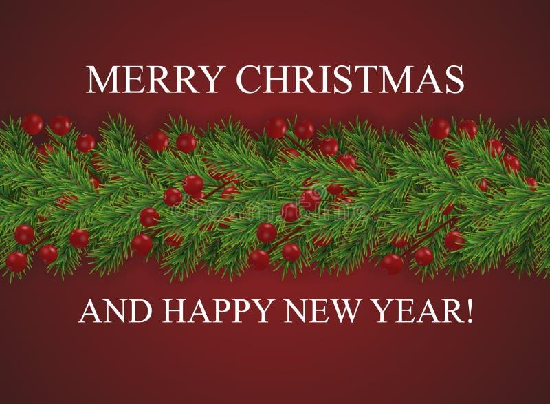 Κόκκινο υπόβαθρο με τη Χαρούμενα Χριστούγεννα και καλή χρονιά επιθυμιών και σύνορα των ρεαλιστικών κλάδων χριστουγεννιάτικων δέντ διανυσματική απεικόνιση