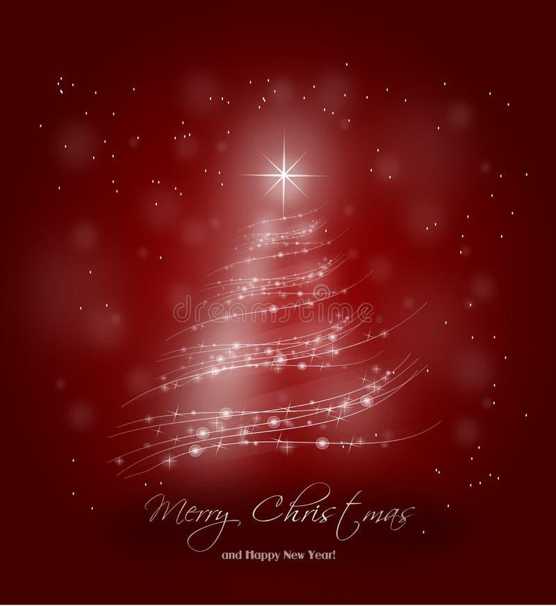 Κόκκινο υπόβαθρο με το λάμποντας δέντρο φω'των για τα Χριστούγεννα απεικόνιση αποθεμάτων
