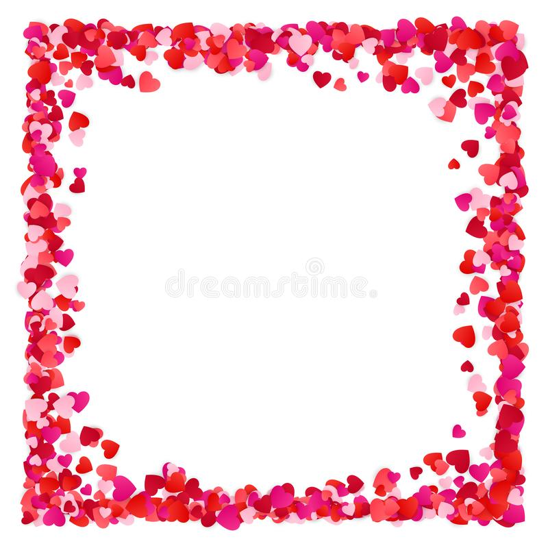 Κόκκινο υπόβαθρο πλαισίων καρδιών εγγράφου Corolful Ρομαντική διεσπαρμένη σύσταση καρδιών Πλαίσιο καρδιών με το διάστημα για το κ απεικόνιση αποθεμάτων