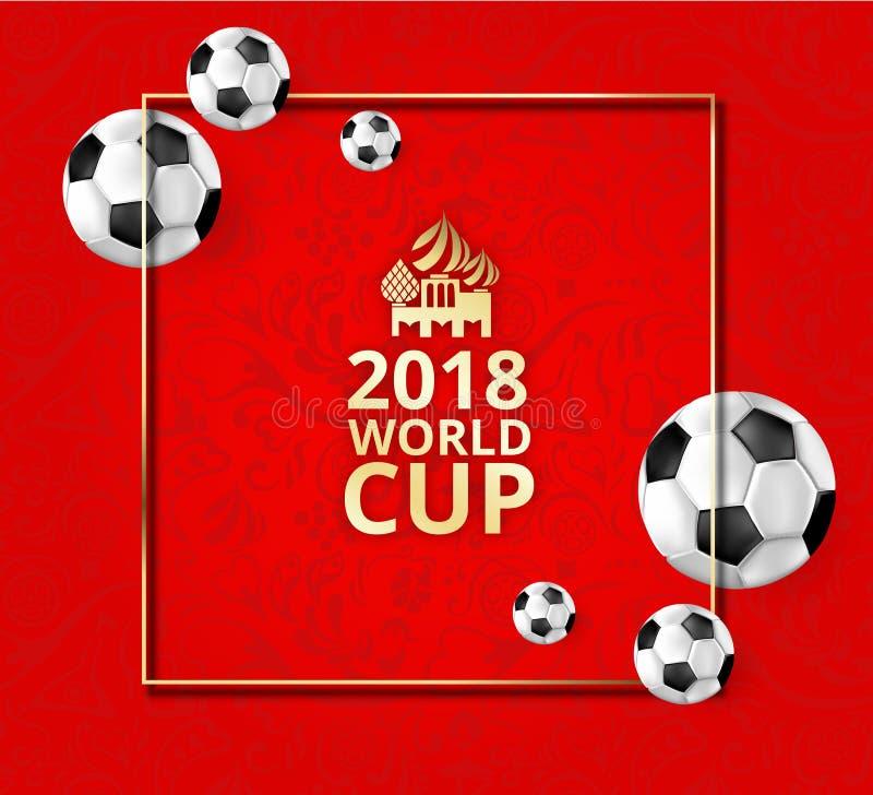 Κόκκινο υπόβαθρο ποδοσφαίρου 2018 με τις σφαίρες ποδοσφαίρου και το ρωσικό ornam ελεύθερη απεικόνιση δικαιώματος