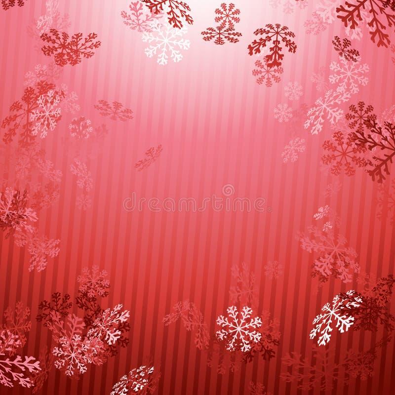 Κόκκινο υπόβαθρο πτώσης χιονιού έτους Χριστουγέννων νέο απεικόνιση αποθεμάτων