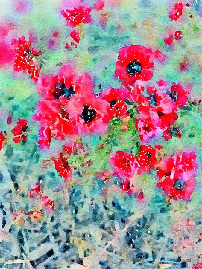 Κόκκινο υπόβαθρο τέχνης τοίχων λουλουδιών Watercolor στοκ εικόνα