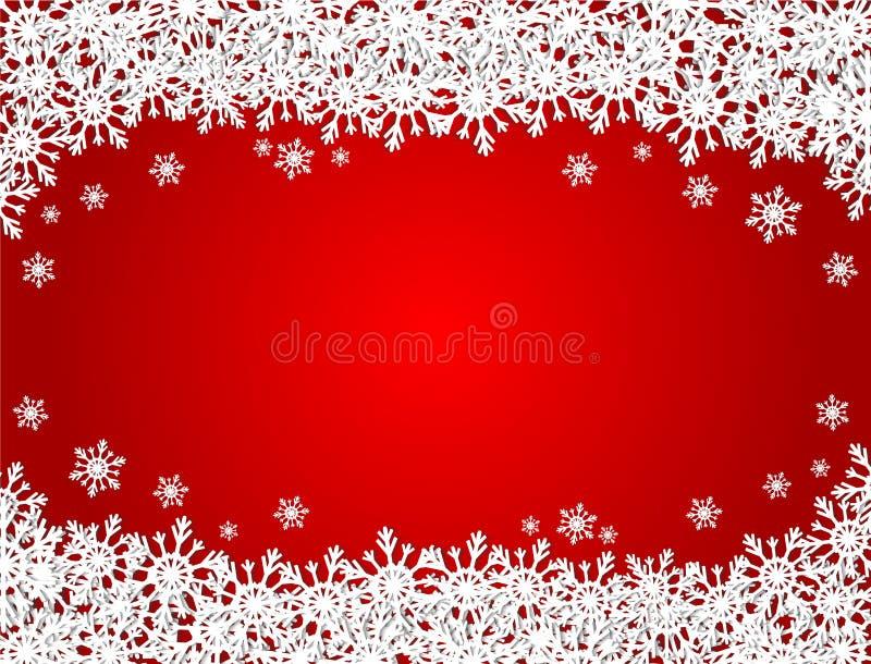 Κόκκινο υπόβαθρο Χαρούμενα Χριστούγεννας με πολλά snowflakes της Λευκής Βίβλου, απεικόνιση αποθεμάτων