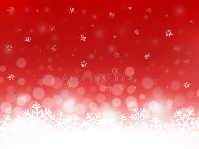Κόκκινο υπόβαθρο χιονιού Snowflakes με τα μόρια και bokeh Θολωμένο σκηνικό αφηρημένο ανασκόπησης Χριστουγέννων σκοτεινό διακοσμήσ διανυσματική απεικόνιση
