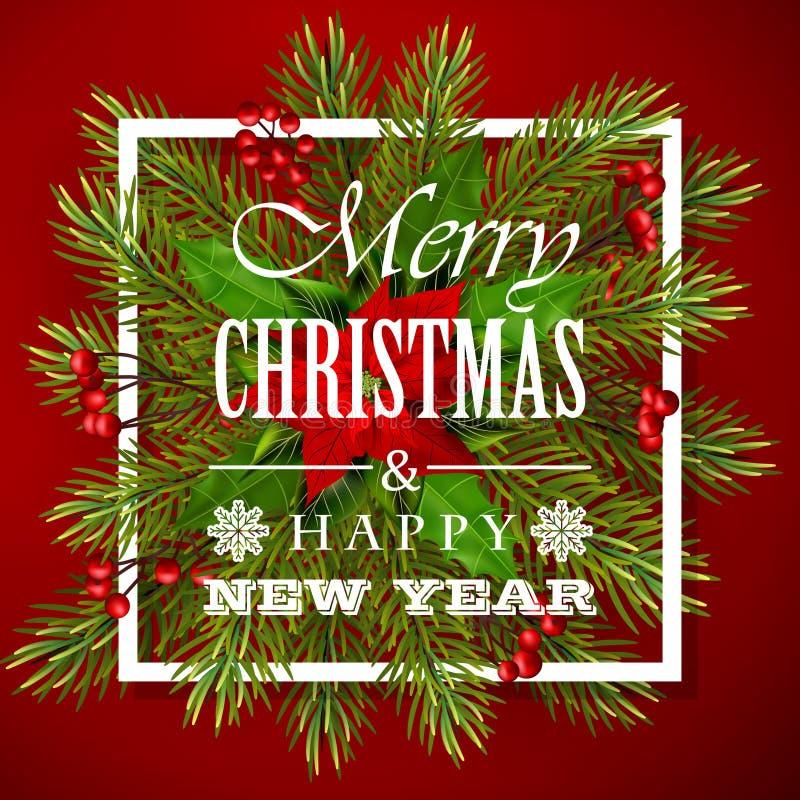 Κόκκινο υπόβαθρο Χριστουγέννων με τα πράσινα φύλλα και το poinsettia ελεύθερη απεικόνιση δικαιώματος