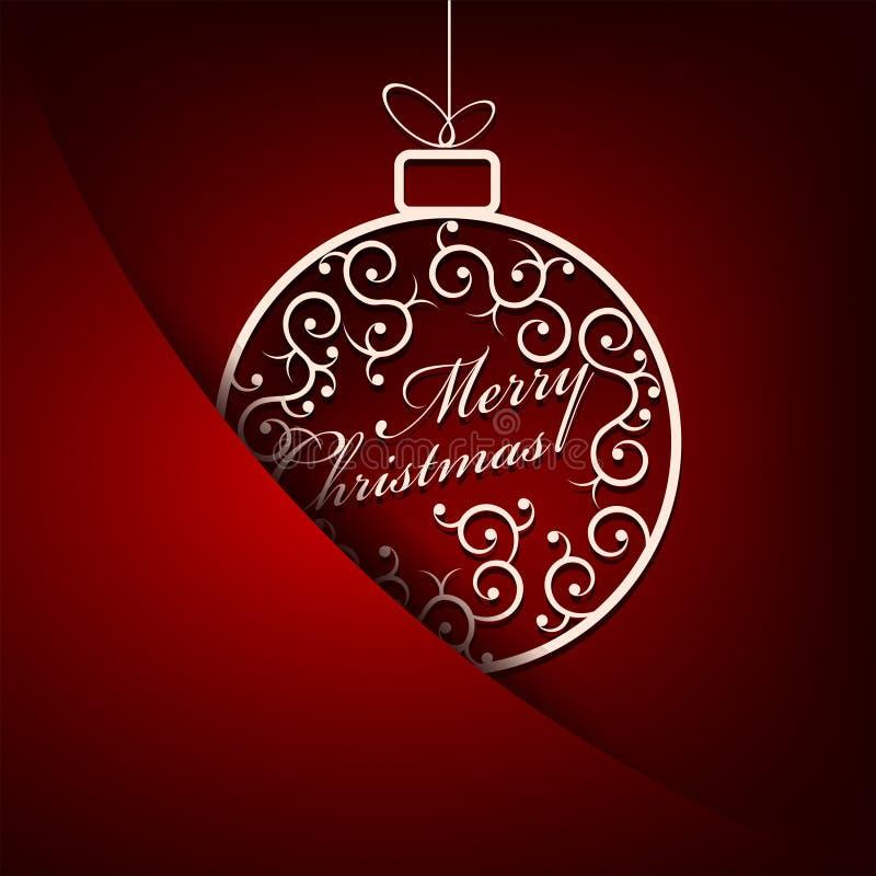 Κόκκινο υπόβαθρο Χριστουγέννων με την άσπρη σφαίρα, αναδρομική διανυσματική απεικόνιση