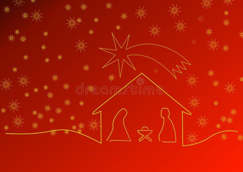 Κόκκινο υπόβαθρο Χριστουγέννων με το παχνί και τα αστέρια ελεύθερη απεικόνιση δικαιώματος